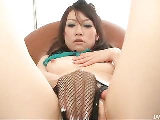 amateur asian fishnet masturbation