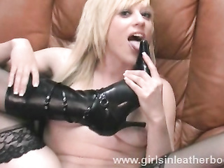 blonde leather boots