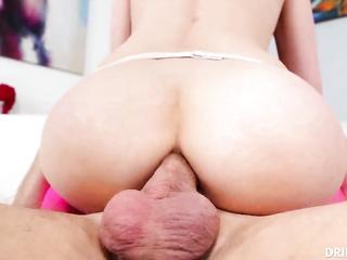 brunette fishnet anal fuck