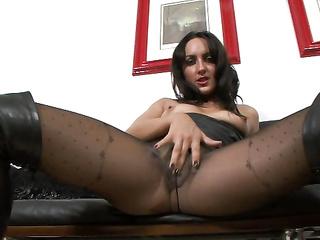 brunette nylon masturbation